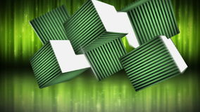 Blank cubes against green light background Royalty Free Stock Photo