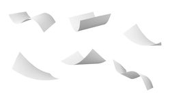 Blank curl paper flying in wind Royalty Free Stock Images