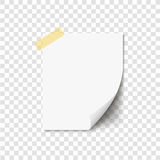 Blank curled white paper on sticky tape, ready for your message. Vector illustration. Stock Images