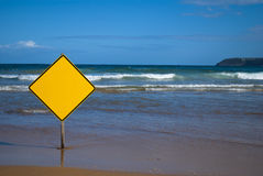 Blank customizable sign on the beach Royalty Free Stock Photo