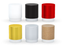 Blank cylindrical box packaging set with cap, clipping path incl Royalty Free Stock Photo