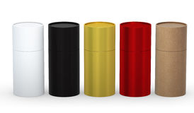 Blank cylindrical box packaging set with clipping path Royalty Free Stock Image