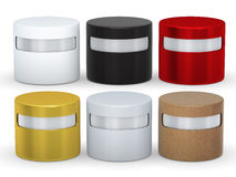 Blank cylindrical box packaging set with copy space, clipping pa Stock Image