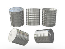 Blank cylindrical tin can with pull ring, clipping path included Stock Photos