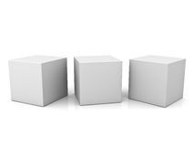 Blank 3d concept boxes on white background with reflection. Blank 3d concept boxes over white background with reflection Royalty Free Stock Photography