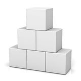 Blank 3d concept boxes  on white background with reflection. 3D rendering Stock Photo