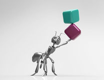 Blank 3d Cubes with ant. Infographic design element ,conceptual Stock Photo