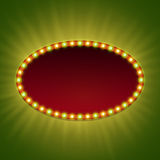 Blank 3d retro light banner with shining bulbs.  Royalty Free Stock Photo