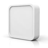 Blank 3d square button or frame over white background Stock Photos