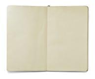 Blank den öppna anmärkningsboken Arkivbild