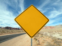 Blank desert highway sign. Blank highway sign crossing the Nevada desert Royalty Free Stock Photos