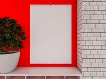 Blank design calendar template on a wall with soft shadows. 3D r Stock Photo