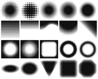 Blank design elements collection with halftone changing from dark to light. Royalty Free Stock Image