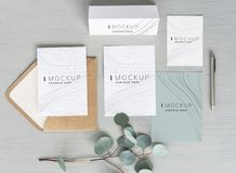 Wave texture business stationery design mockups royalty free stock photography