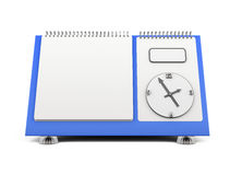 Blank desk calendar with a clock on a blue substrate. 3d. Blank desk calendar with a clock on a blue substrate on a white. 3d render image Stock Photos