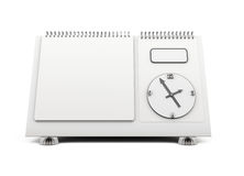 Blank desk calendar clock on a white. 3d. Blank desk calendar clock on  a white background. 3d illustration Stock Images