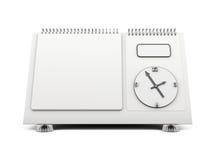 Blank desk calendar clock on a white. 3d. Stock Images
