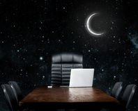 Blank desktop. On a black background. Elements of this image furnished by NASA Stock Image