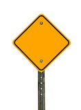 Blank Diamond Caution Sign. Photograph of a blank diamond shaped yellow caution traffic sign with black border. All text letters have been removed. Isolated on a Stock Photo