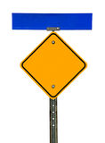 Blank Diamond Caution Sign with Street Sign Above Stock Images