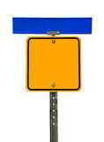 Blank Square Caution Sign with Street Sign Above Royalty Free Stock Photo