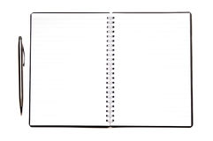 Blank diary. With a pen ready to take a note Royalty Free Stock Photo