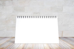 Blank diary cover on wooden table Royalty Free Stock Image