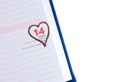 Blank diary page 14 February with copyspace Royalty Free Stock Photography