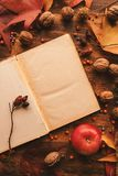 Blank diary page copy space with autumn decoration royalty free stock images