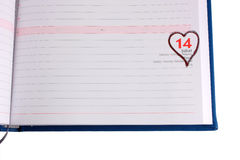 Blank diary page marked 14 February - Horizontal Stock Photo