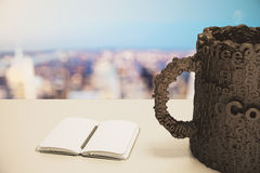 Blank diary with pen and coffee cup concept Stock Photography