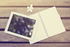 Blank digital tablet and diary Stock Images