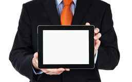 Blank digital tablet in human hands Stock Photo