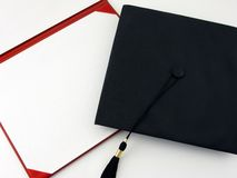 Blank Diploma. And black cap with tassle Stock Image