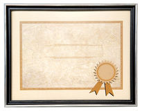 Blank diploma. With black metal frame Stock Images