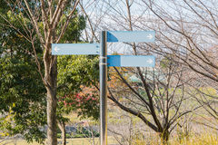 Blank direction blue signpost. Royalty Free Stock Photos