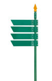 Blank direction green signpost isolated on white background. Royalty Free Stock Photography