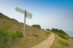 Blank Direction Sign With Stone Road Royalty Free Stock Photo
