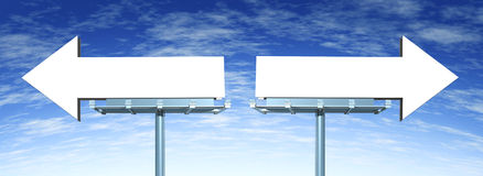 Blank Directional Options signs. Blank directional billboard signs in the shape of arrows as a symbol of choice in marketing and having a difficult buying Stock Photos