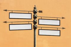 Blank directional road signs Metal pointer Stock Image