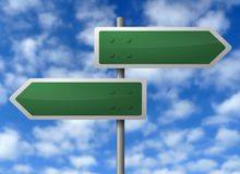 Blank directional signs. Two blank directional signs pointing in opposite directions against a blue sky with white clouds.  Theme:  options, decisions, choices Stock Photo