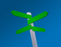 Blank directions signpost. Directions signpost on a blue sky background Royalty Free Stock Photography