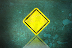 Blank dirty yellow road sign Stock Photo