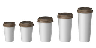 Blank disposable cup with cover, Extra, Small, Medium, Large Stock Images