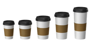 Blank disposable cup with cover and heat proof paper, Extra, Small, Medium, Large Stock Photos