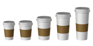 Blank disposable cup with cover and heat proof paper, Extra, Small, Medium, Large Royalty Free Stock Photos