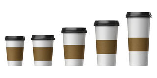 Blank disposable cup with cover and heat proof paper, Extra, Small, Medium, Large. PNG transparent background, Side view royalty free illustration