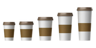 Blank disposable cup with cover and heat proof paper, Extra, Small, Medium, Large Stock Photo