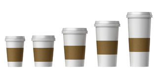 Blank disposable cup with cover and heat proof paper, Extra, Small, Medium, Large Royalty Free Stock Images