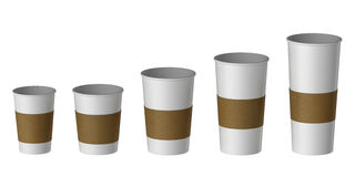 Blank disposable cup with heat proof paper, Extra, Small, Medium, Large Royalty Free Stock Photos